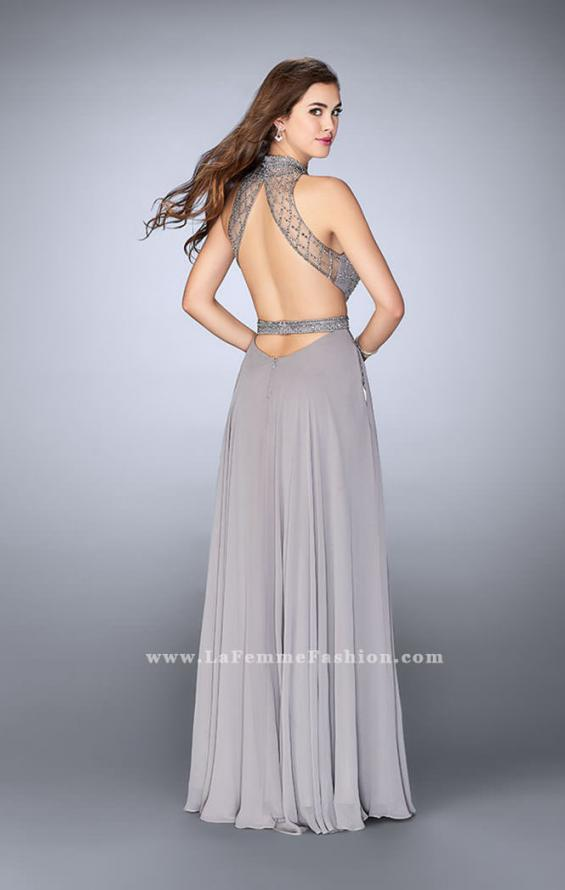 Picture of: Chiffon Gown with Beaded High Neck and Side Cut Outs, Style: 24649, Back Picture