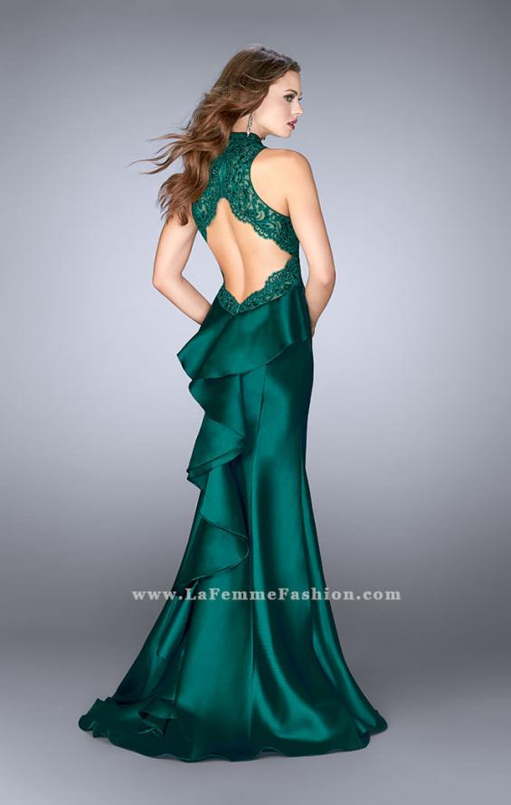 Picture of: High Neck Sheer Lace Dress with Ruffle Back Skirt, Style: 24651, Back Picture