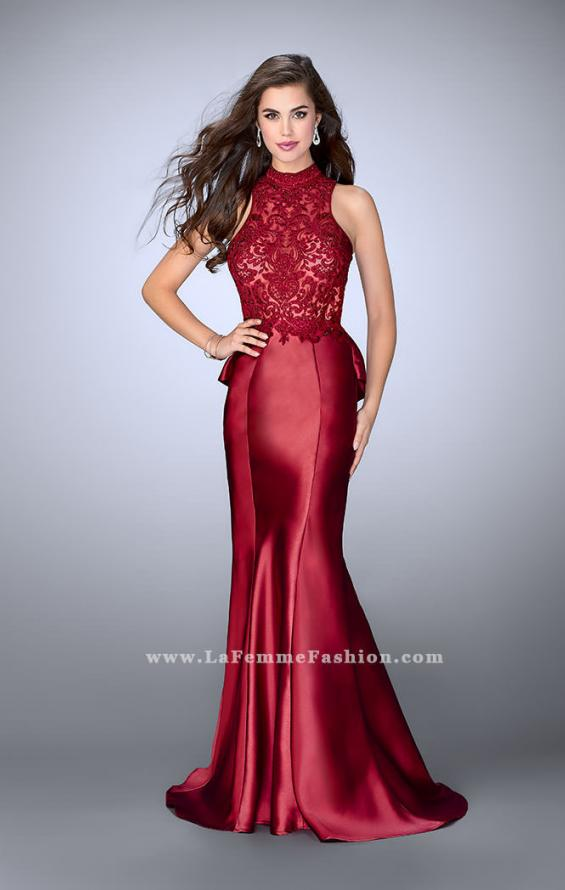 Picture of: High Neck Sheer Lace Dress with Ruffle Back Skirt, Style: 24651, Detail Picture 1