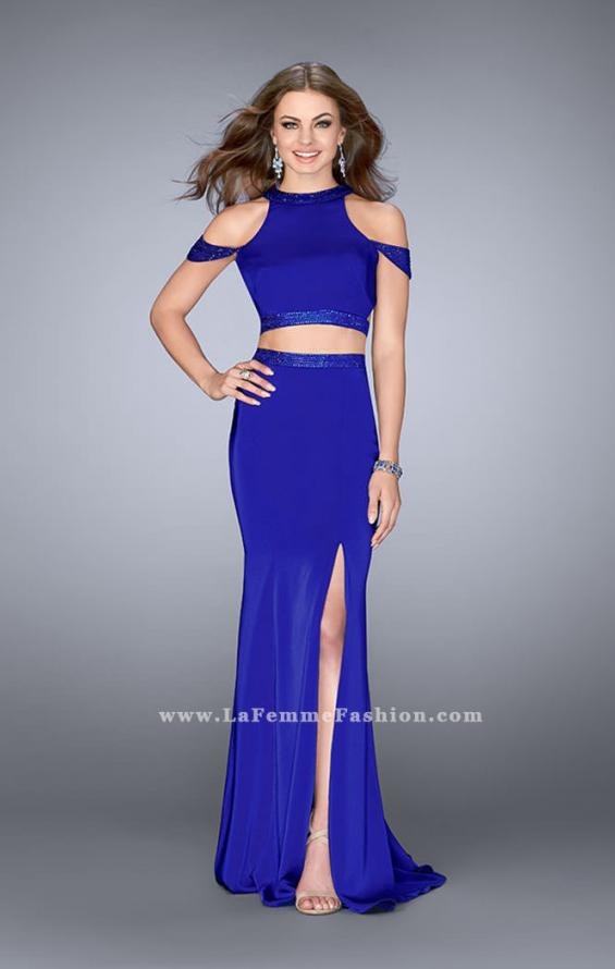 Picture of: Off the Shoulder Two Piece Dress with Open Back in Blue, Style: 24653, Main Picture