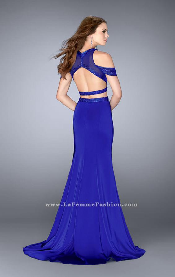 Picture of: Off the Shoulder Two Piece Dress with Open Back in Blue, Style: 24653, Back Picture