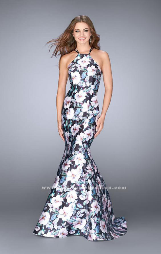 Picture of: Flower Print Mermaid Mikado Dress with Strappy Back in Print, Style: 24673, Main Picture