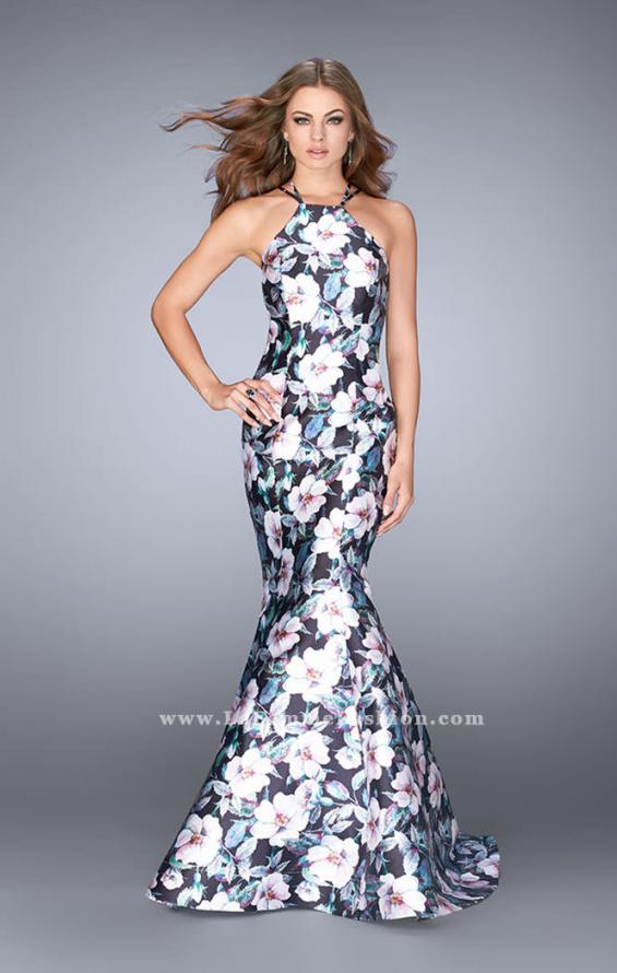 Picture of: Flower Print Mermaid Mikado Dress with Strappy Back in Print, Style: 24673, Detail Picture 1