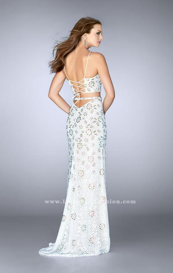 Picture of: Two Piece White Lace Dress with Multi Color Beading in White, Style: 24678, Back Picture
