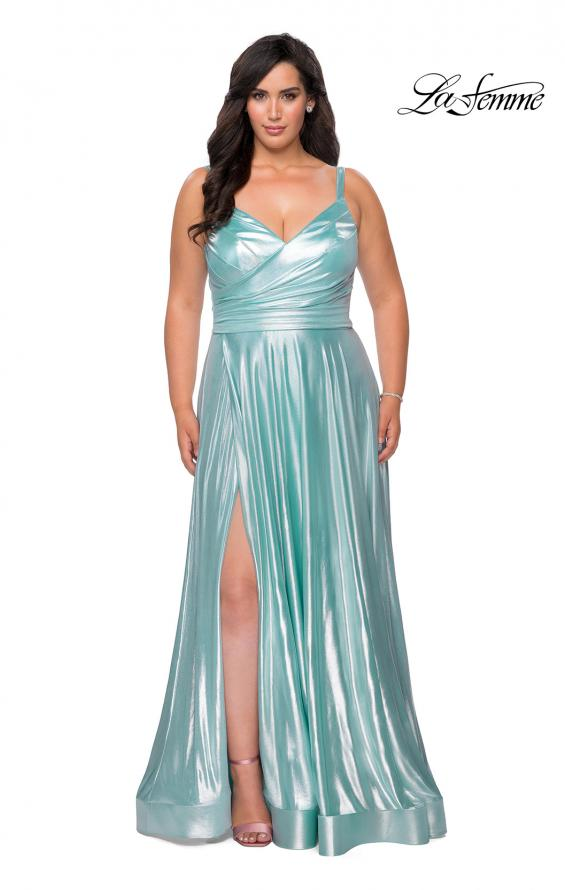 Picture of: Metallic Grecian Long Plus Size Prom Dress in Aqua, Style: 28989, Detail Picture 1