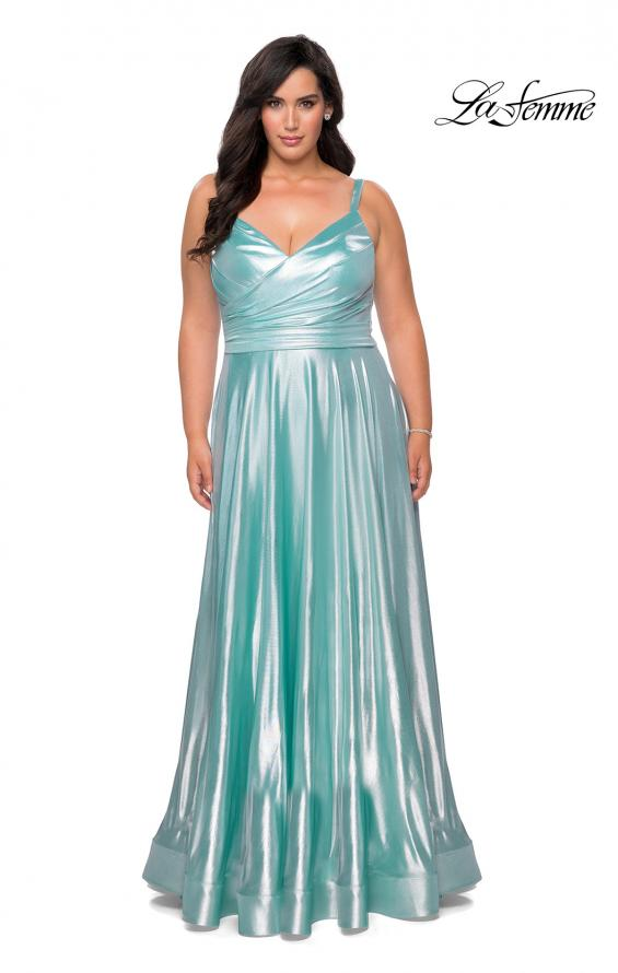 Picture of: Metallic Grecian Long Plus Size Prom Dress in Aqua, Style: 28989, Detail Picture 3