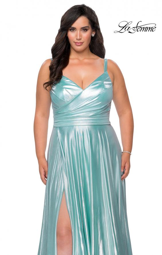 Picture of: Metallic Grecian Long Plus Size Prom Dress in Aqua, Style: 28989, Detail Picture 5