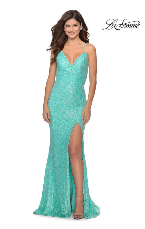 Picture of: Stretch Lace Dress with Lace Up Back and Rhinestones in Aqua, Style: 28632, Detail Picture 1
