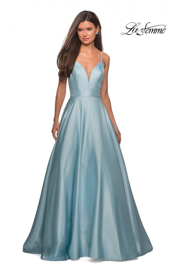 Picture of: Simple A-Line Long Prom Dress with Pockets in Aqua, Style: 27823, Detail Picture 2