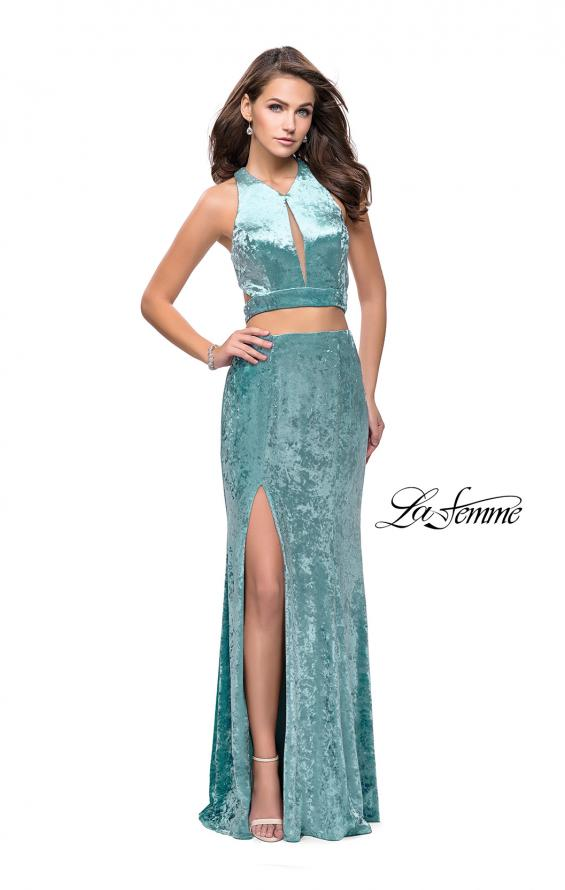 Picture of: Long Velvet Prom Dress with Crop Top and Leg Slit in Aqua, Style: 25500, Detail Picture 3