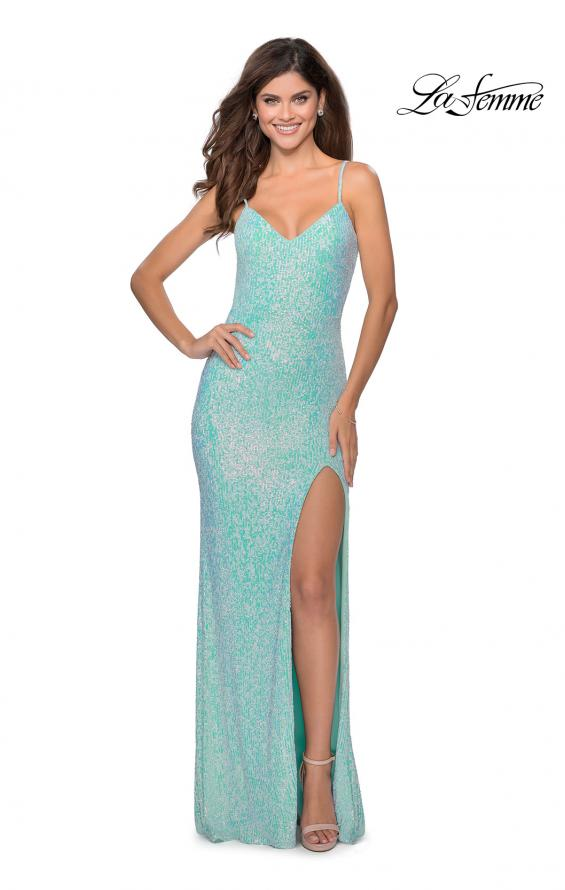 Picture of: Long Sequin Gown in Pastel Colors in Aqua, Style: 28441, Detail Picture 6