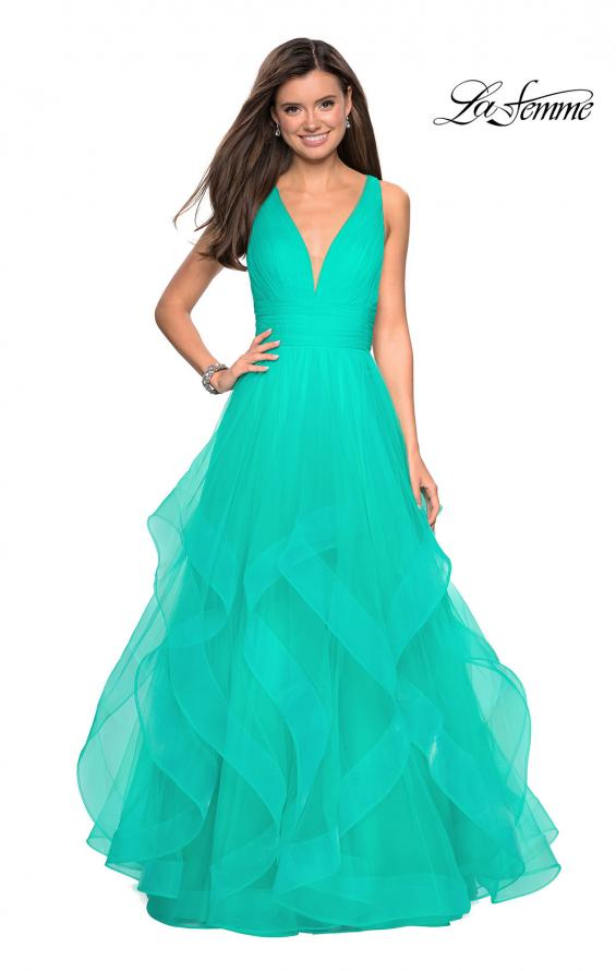 Picture of: Long Tulle Evening Gown with Plunging Neckline, Style: 27628, Detail Picture 1