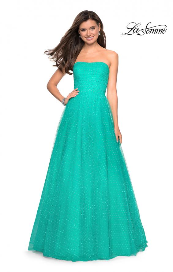 Picture of: Strapless Fully Rhinestone A-Line Prom Dress in Aquamarine, Style: 27630, Detail Picture 2