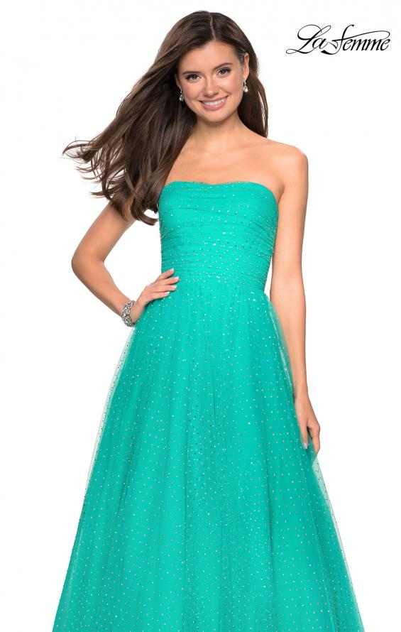 Picture of: Strapless Fully Rhinestone A-Line Prom Dress in Aquamarine, Style: 27630, Detail Picture 7