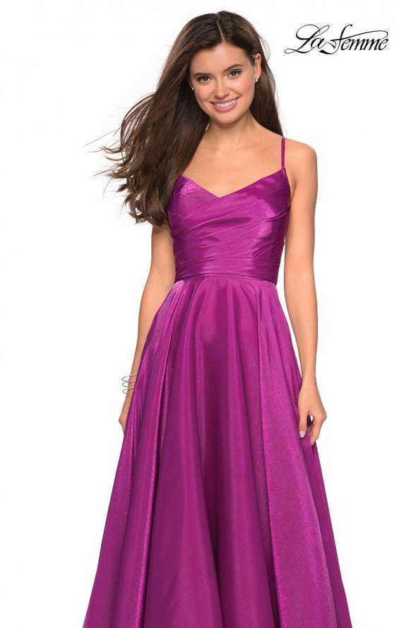 Picture of: Long Satin Simple Prom Dress with Empire Waist, Style: 27226, Detail Picture 5