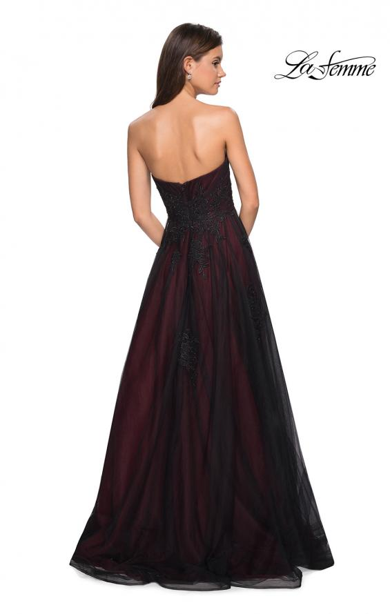Picture of: Strapless Sweetheart Black And Red Tulle Prom Dress, Style: 27774, Back Picture