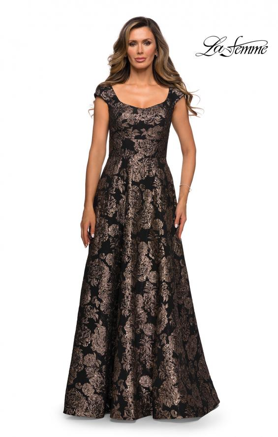 Picture of: Cap Sleeve Floral A-line Evening Gown with Pockets in Black Gold, Style: 27999, Main Picture