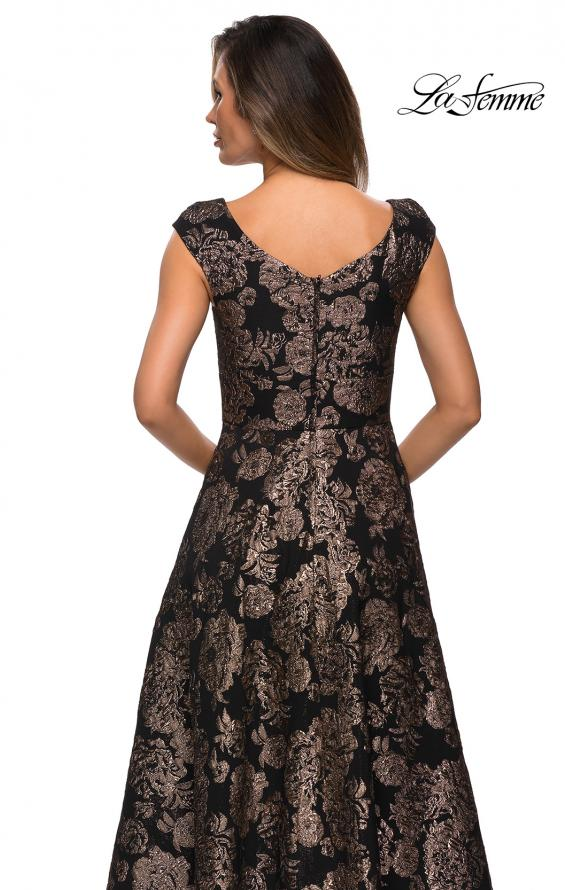 Picture of: Cap Sleeve Floral A-line Evening Gown with Pockets in Black Gold, Style: 27999, Back Picture