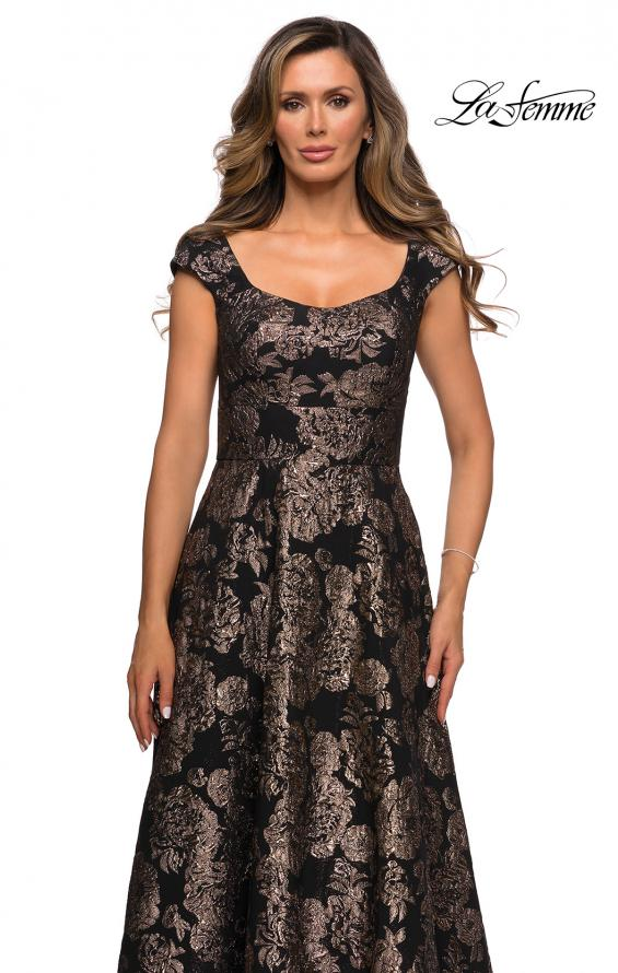 Picture of: Cap Sleeve Floral A-line Evening Gown with Pockets in Black Gold, Style: 27999, Detail Picture 1