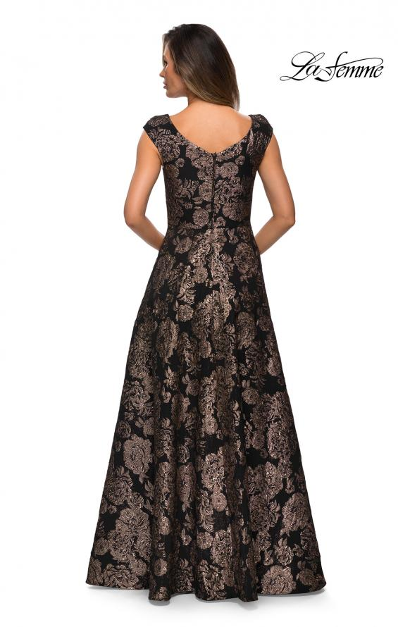 Picture of: Cap Sleeve Floral A-line Evening Gown with Pockets in Black Gold, Style: 27999, Detail Picture 2