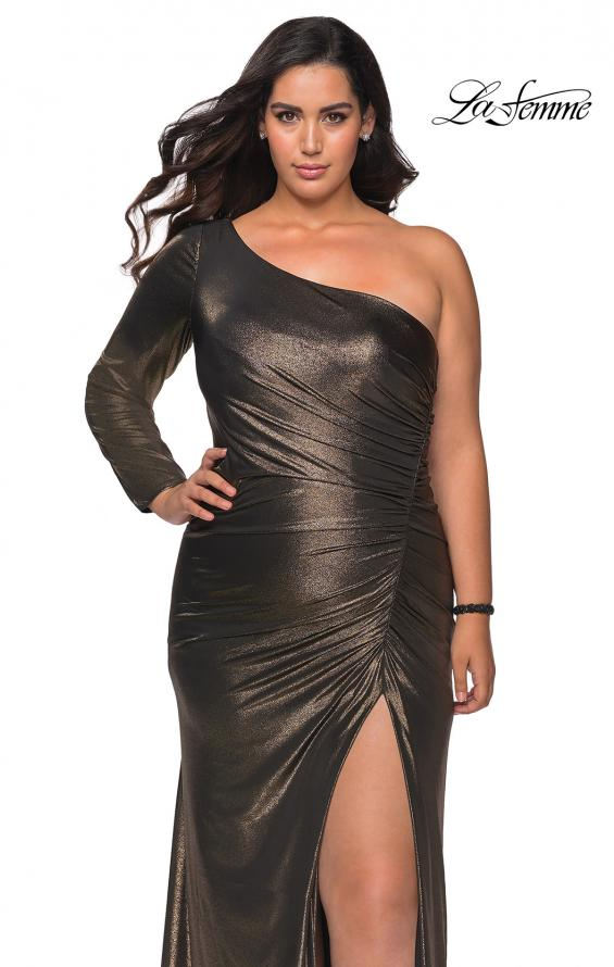 Picture of: One Shoulder Long Sleeve Metallic Plus Size Gown in Black Gold, Style: 28878, Main Picture
