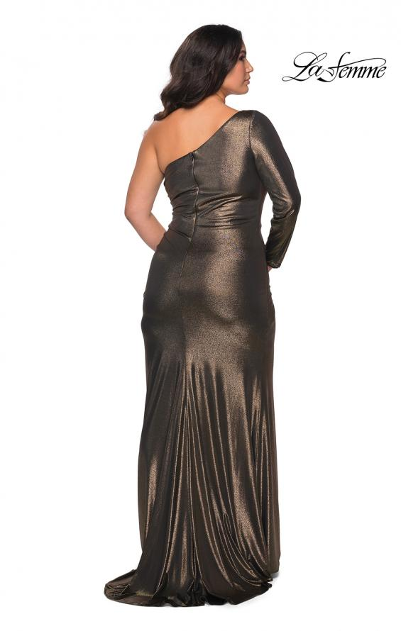Picture of: One Shoulder Long Sleeve Metallic Plus Size Gown in Black Gold, Style: 28878, Back Picture