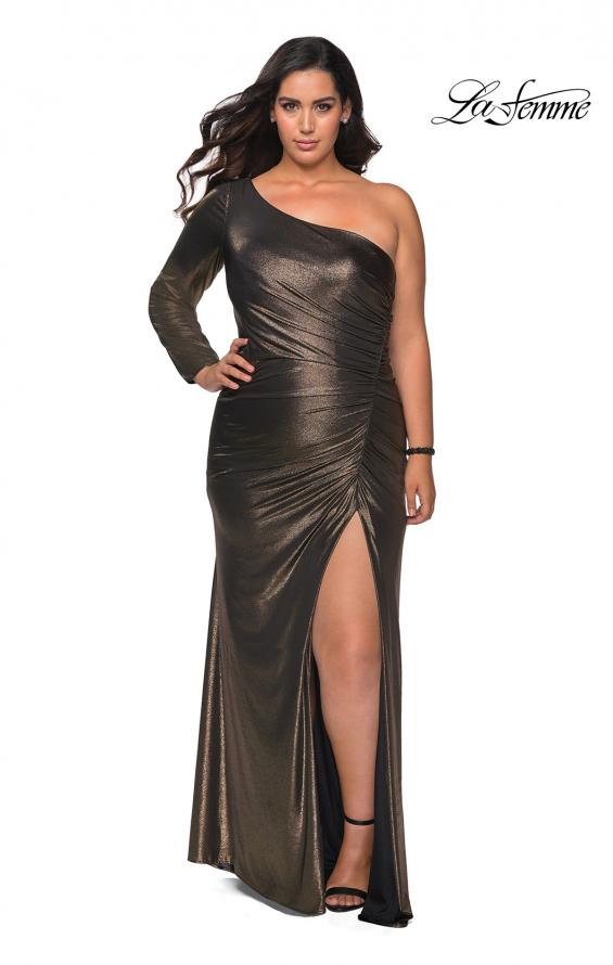 Picture of: One Shoulder Long Sleeve Metallic Plus Size Gown in Black Gold, Style: 28878, Detail Picture 2