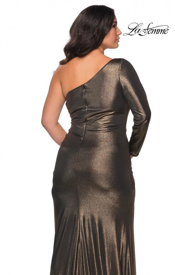 Picture of: One Shoulder Long Sleeve Metallic Plus Size Gown in Black Gold, Style: 28878, Detail Picture 3
