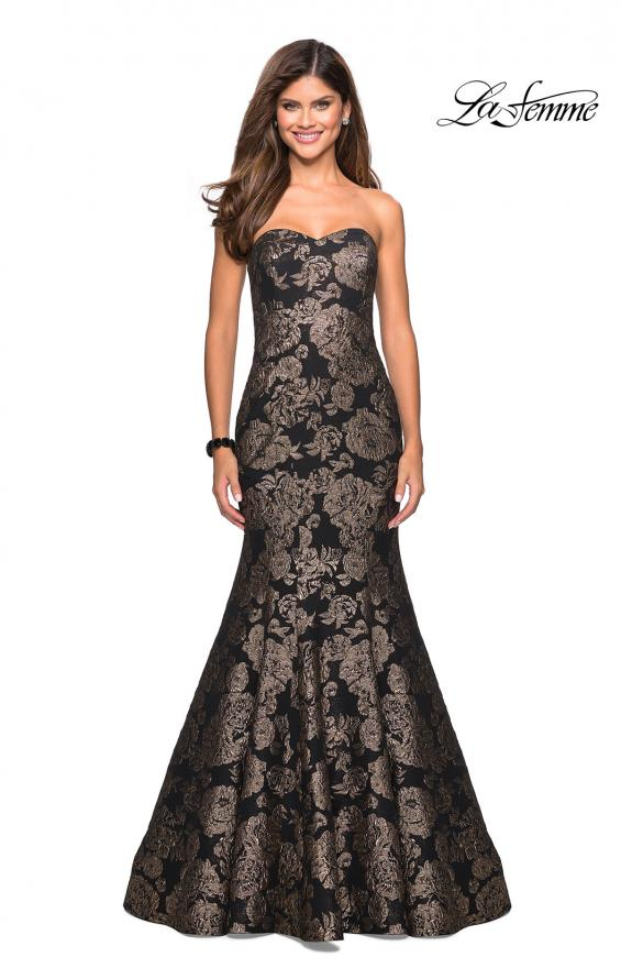Picture of: Mermaid Style Rose Printed Strapless Prom Dress in Black Gold, Style: 27286, Main Picture