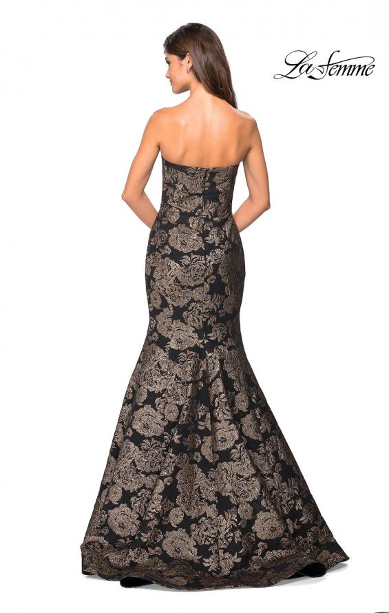 Picture of: Mermaid Style Rose Printed Strapless Prom Dress in Black Gold, Style: 27286, Back Picture