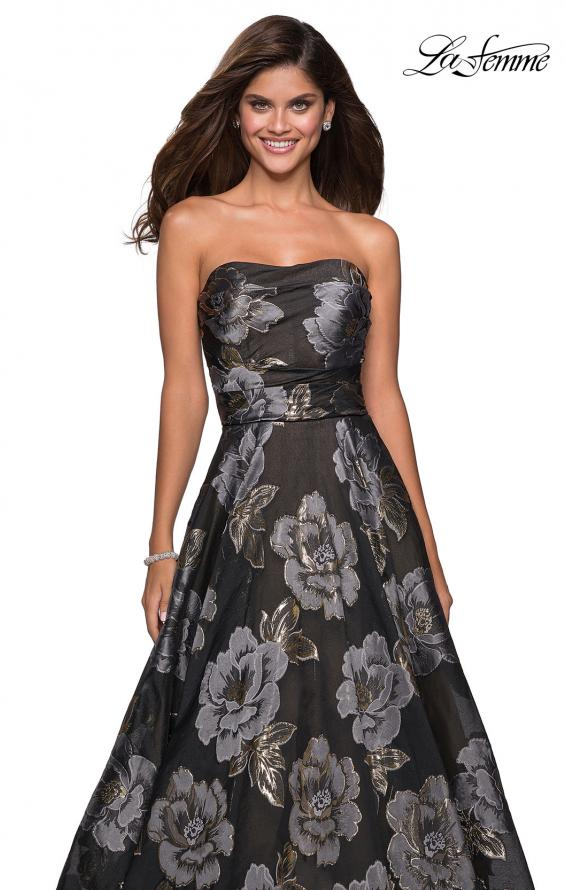 Picture of: Strapless Floral A Line Ball Gown with Pockets in Black Gold, Style: 27207, Detail Picture 1