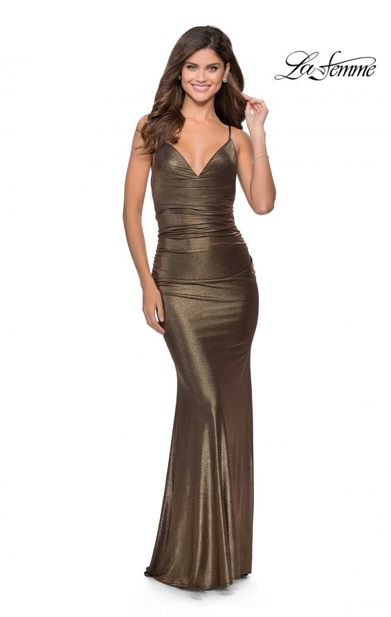 Picture of: Metallic Dress with Draped Neckline and Ruching in Black Gold, Style: 28913, Detail Picture 1