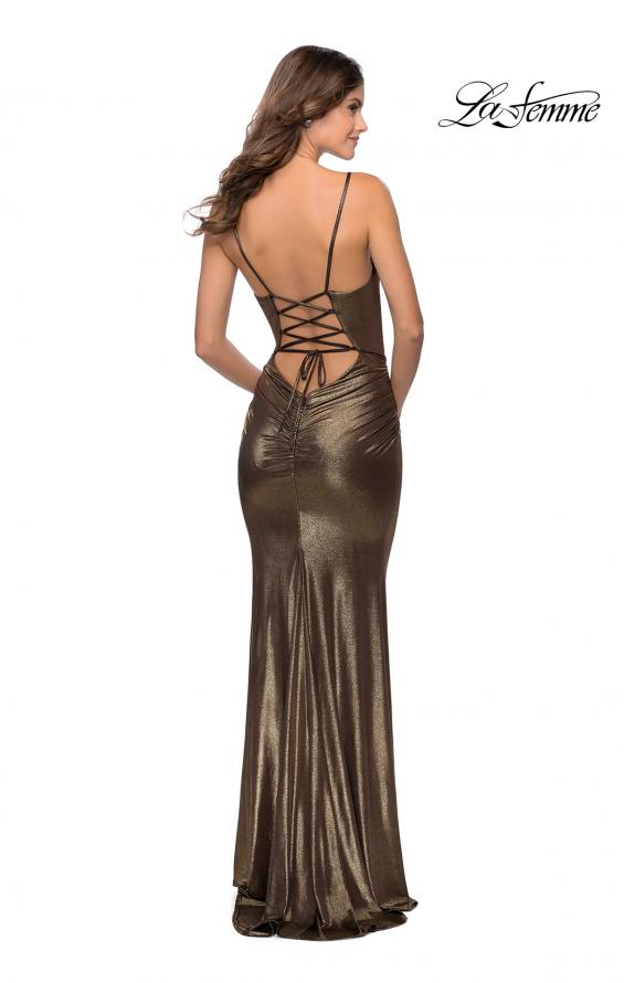 Picture of: Metallic Dress with Draped Neckline and Ruching in Black Gold, Style: 28913, Detail Picture 2