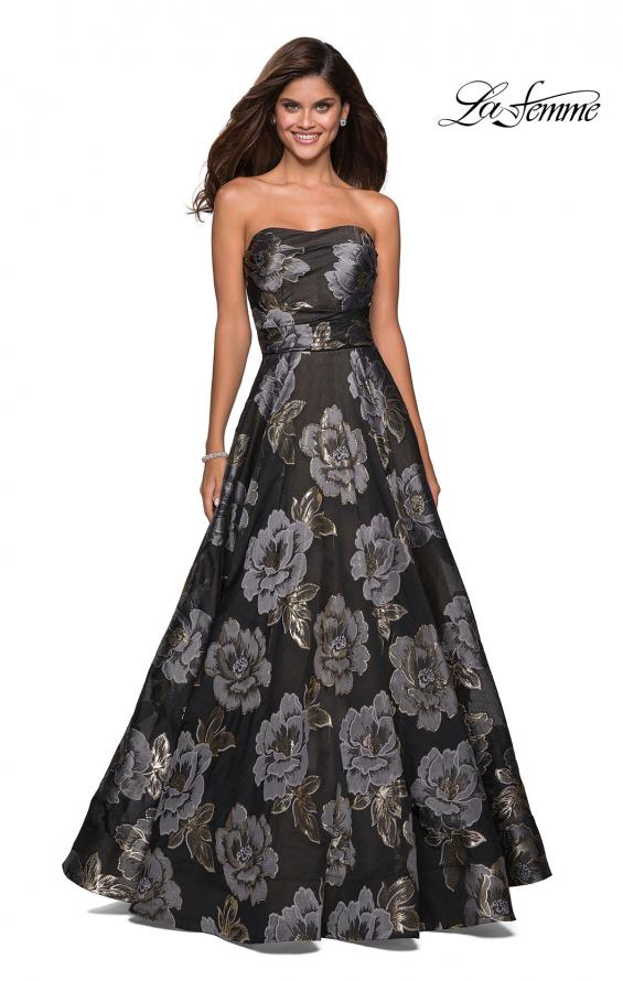 Picture of: Strapless Floral A Line Ball Gown with Pockets in Black Gold, Style: 27207, Detail Picture 3