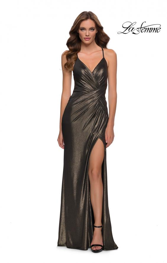 Picture of: Criss Cross Ruched Metallic Prom Dress with Slit Black Gold, Style 29836, Detail Picture 3