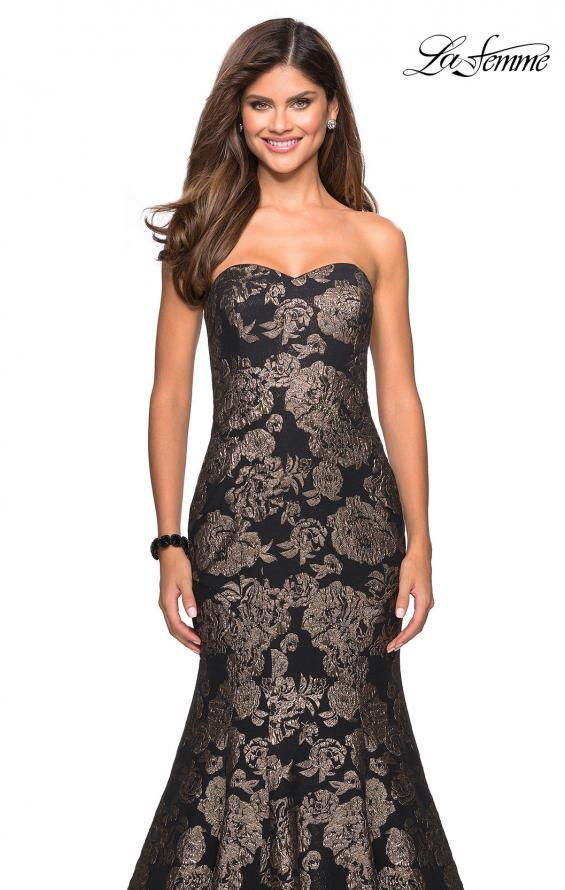 Picture of: Mermaid Style Rose Printed Strapless Prom Dress in Black Gold, Style: 27286, Detail Picture 4