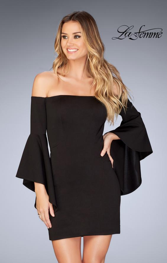 Picture of: Off the Shoulder Ruffle Sleeve Homecoming Dress in Black, Style: 25033, Main Picture