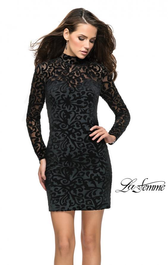 Picture of: Velvet Black Homecoming Dress with Burnout Detail, Style: 26631, Main Picture