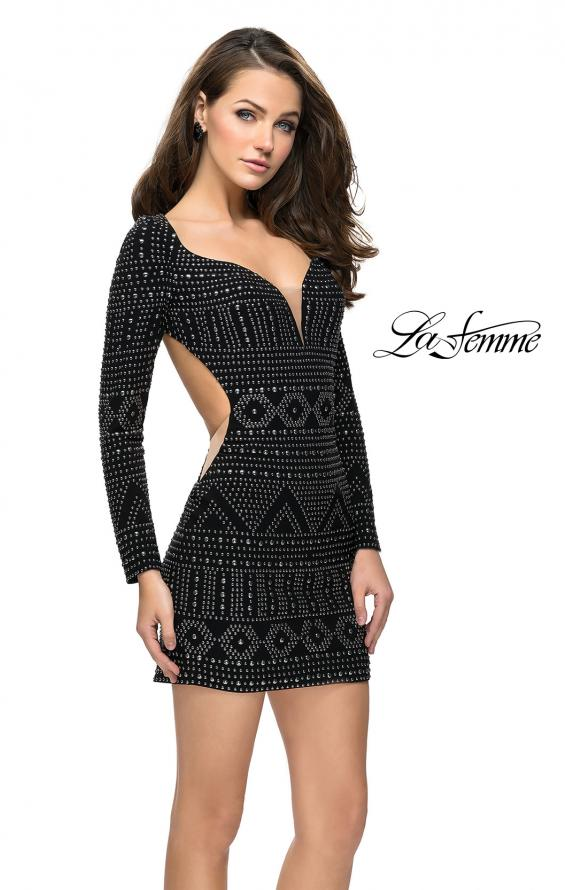 Picture of: Metallic Studded Homecoming Dress with Long Sleeves, Style: 26672, Main Picture