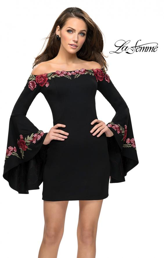 Picture of: Off the Shoulder Mini Dress with Dramatic Bell Sleeves, Style: 26674, Main Picture