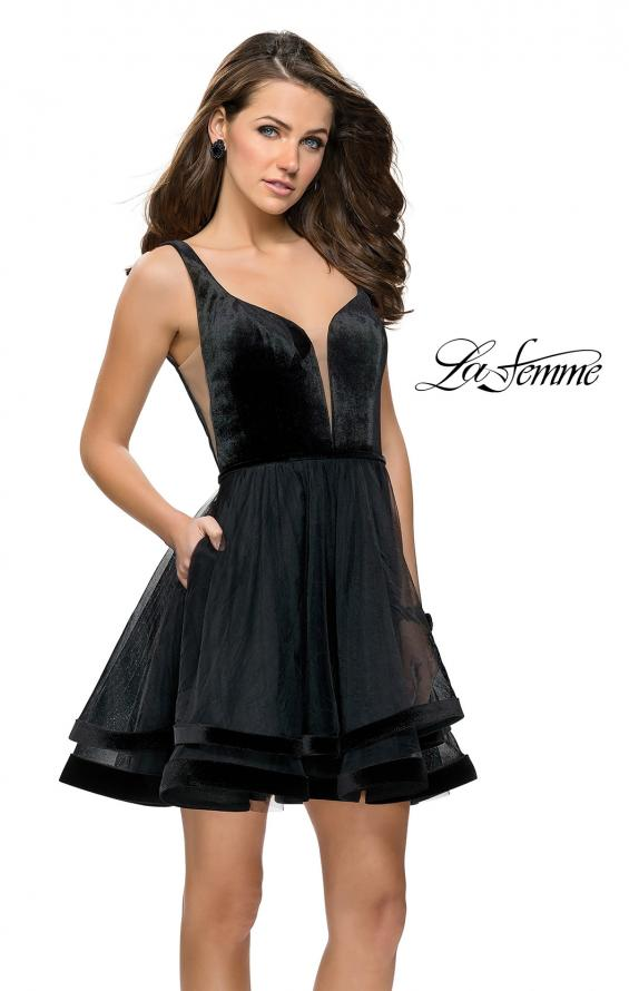 Picture of: Velvet and Tulle Two Piece Set with Pockets and Open Back in Black, Style: 26701, Main Picture