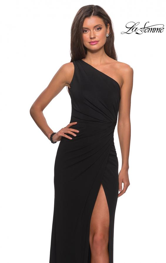 Picture of: One Shoulder Dress with Ruching and Leg Slit in Black, Style: 28135, Main Picture