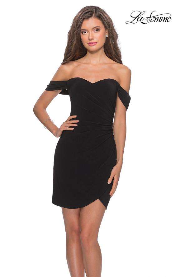 Picture of: Short Dress with Scalloped Off The Shoulder Sleeves in Black, Style: 28193, Main Picture