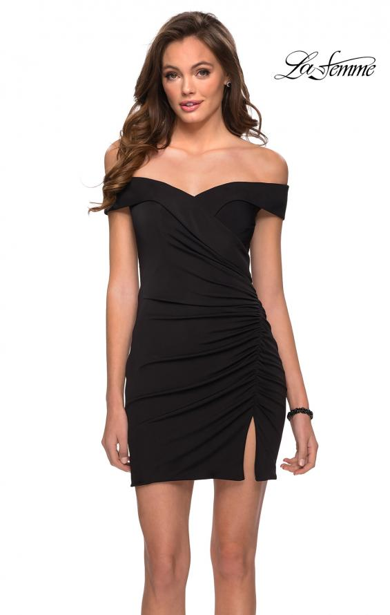 Picture of: Off the Shoulder Black Party Dress with Ruching in Black, Style: 29279, Main Picture