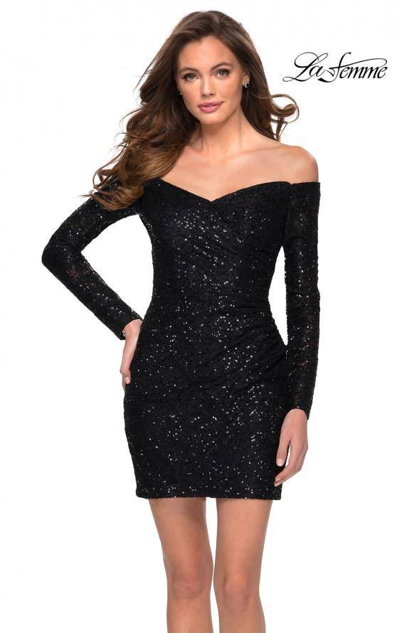 Picture of: Long Sleeve Off the Shoulder Sequin Short Dress in Black, Style: 29339, Main Picture