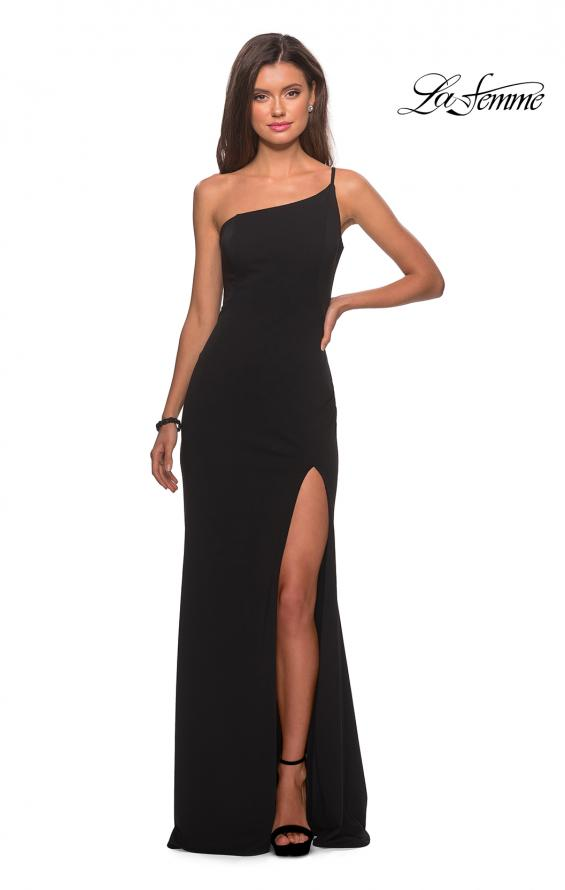 Picture of: One Shoulder Long Jersey Homecoming Dress in Black, Style: 28176, Detail Picture 8