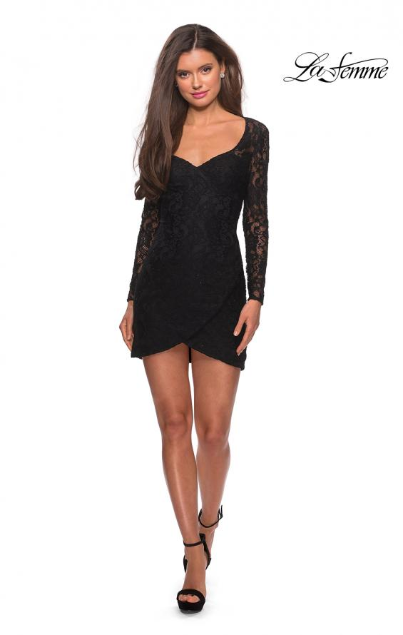 Picture of: Long Sleeve Lace Short Dress with Sheer Back Detail in Black, Style: 28232, Detail Picture 8