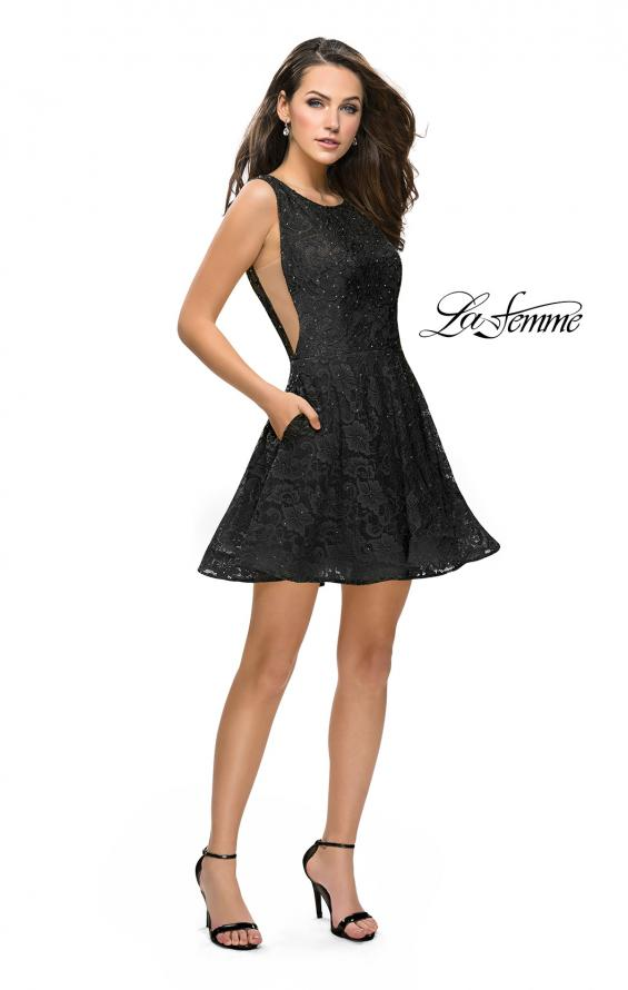 Picture of: Lace Short Dress with Rhinestones and Pockets in Black, Style: 26616, Detail Picture 9