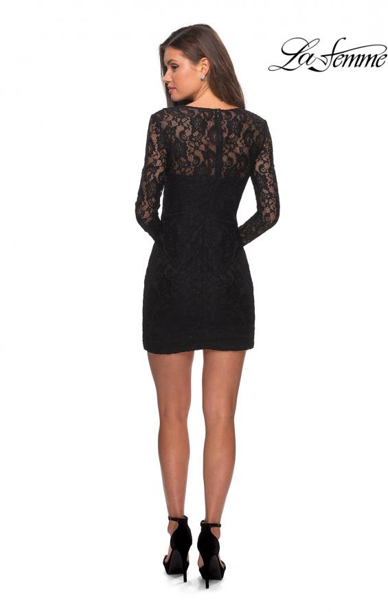 Picture of: Long Sleeve Lace Short Dress with Sheer Back Detail in Black, Style: 28232, Detail Picture 9