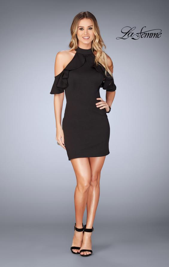 Picture of: Ruffle Halter Top Dress with Tight Jersey Skirt, Style: 25147, Detail Picture 11